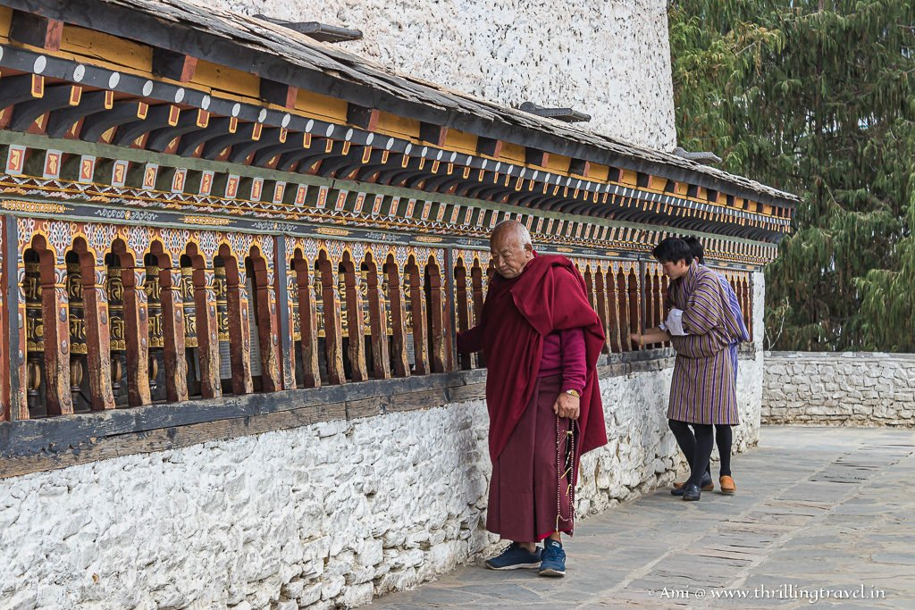 Prayer wheels around the main temple of Changangkha Lhakhang