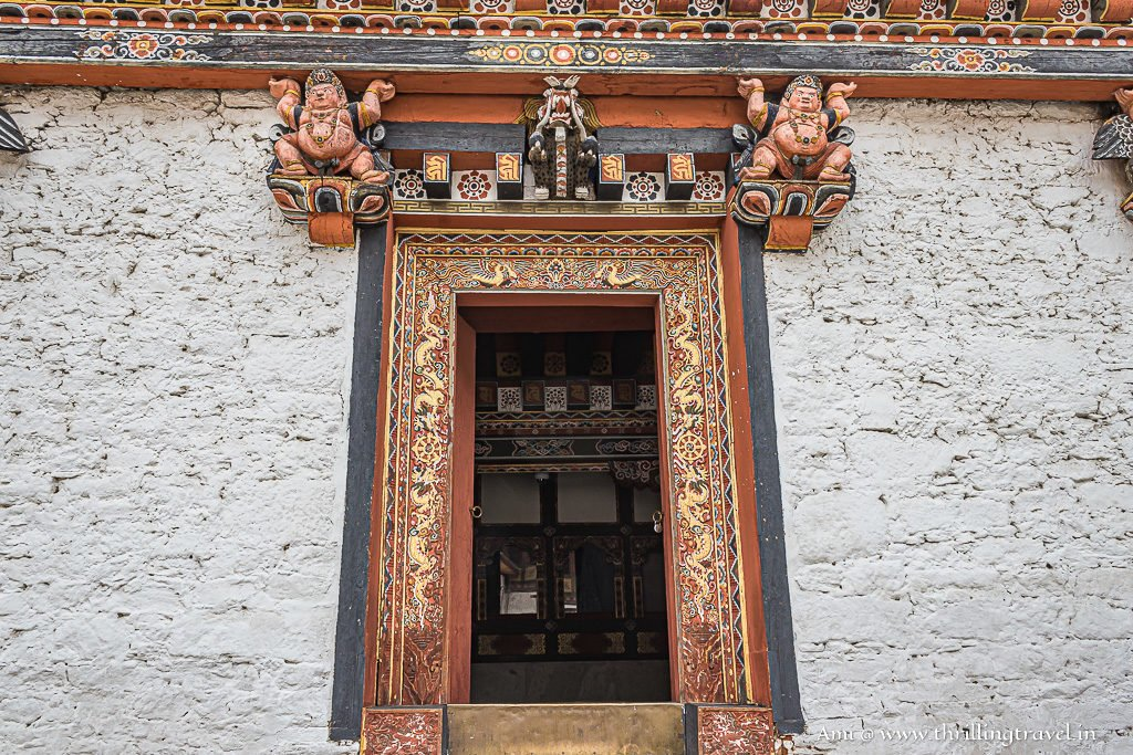The doors that accentuated the plain Dzong walls