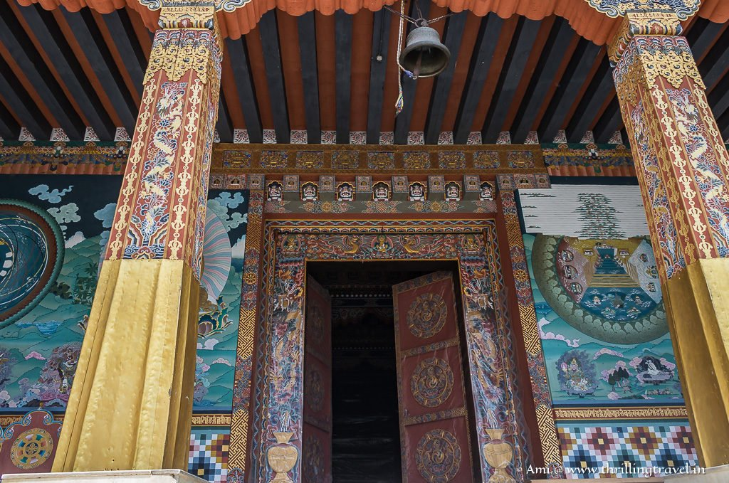 The elaborate artwork of doors, walls and brackets at the Thimphu Dzong Temple