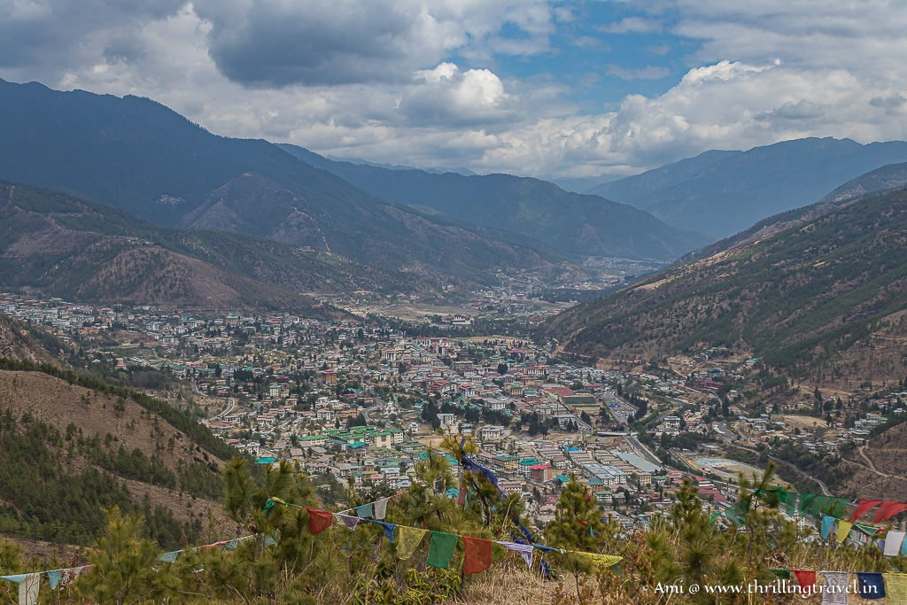Thimphu as seen through the prayer flags at the nature park