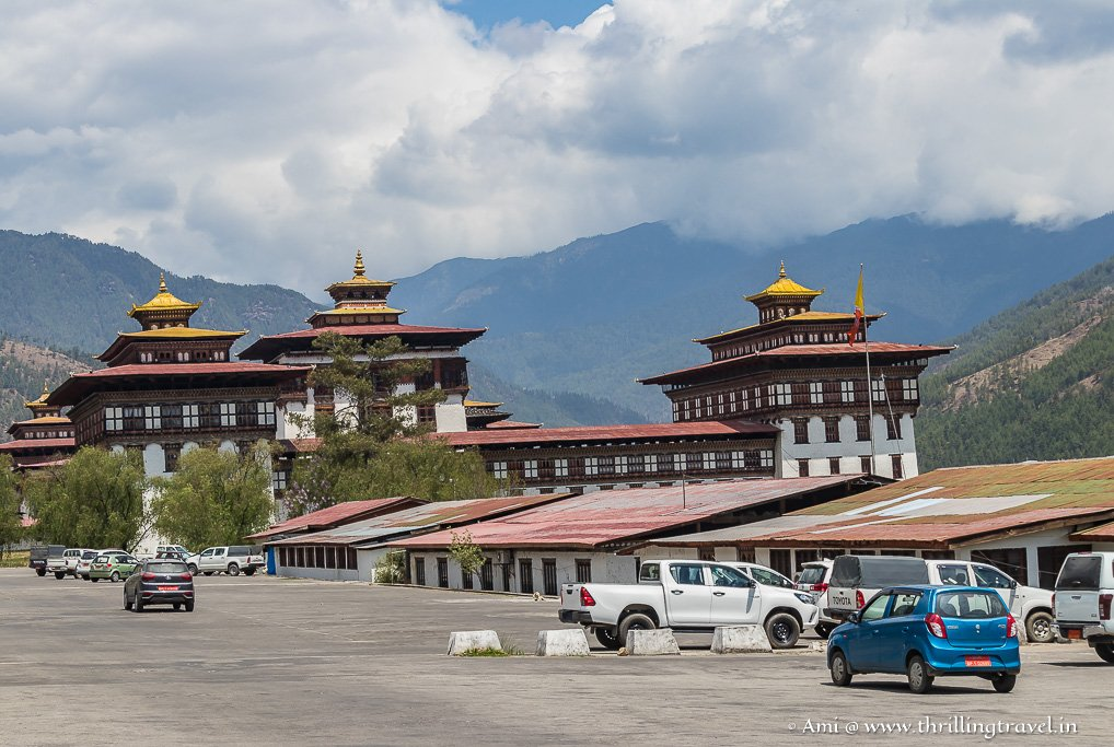 The present-day, bigger Tashichho Dzong in Bhutan