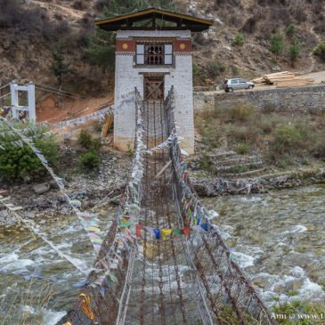 Over a 600-year-old Iron Bridge to Tachog Lhakhang in Paro