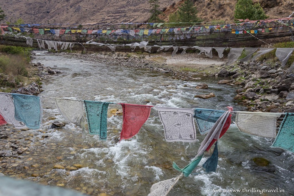 Prayer flags along the bridge