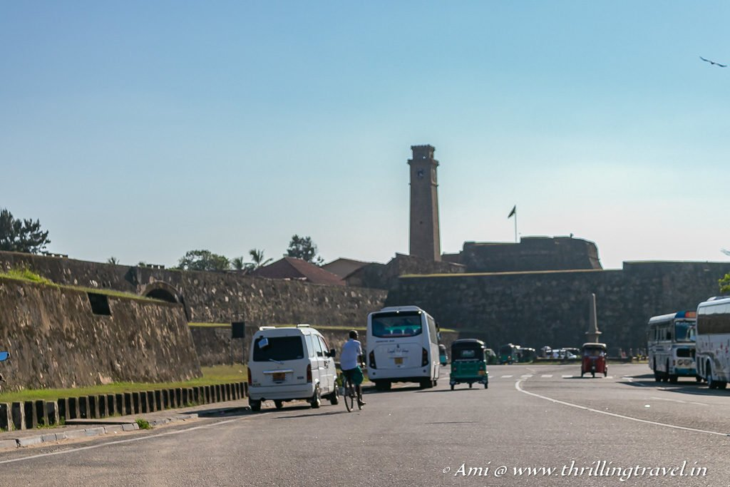 The ancient clock tower of Galle Fort that you can see when you approach it from the main gate