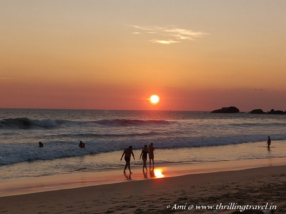 The golden glow of sun setting on Hikkaduwa Beach