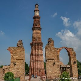 The tapering Qutub Minar has five stories and is located in the Mehrauli region of Delhi