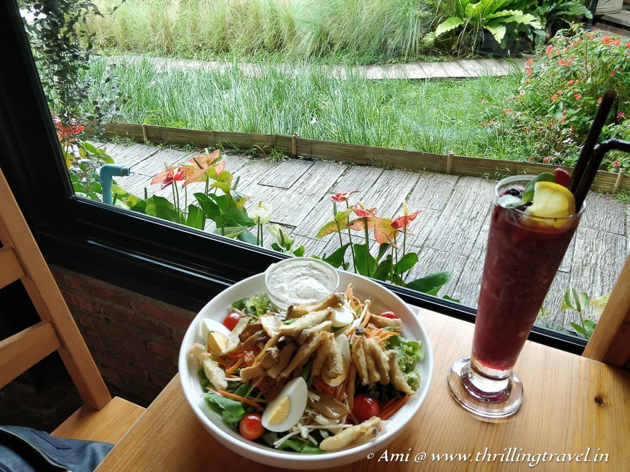 My salad and fresh fruit shake at Ohkajhu Organic Restaurant