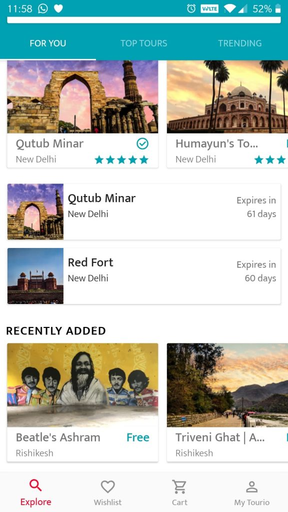 Screenshot of the Tourio App