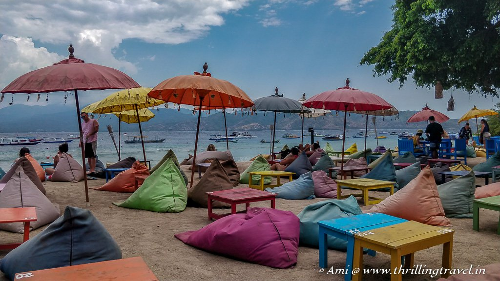 Beach Pillows and Umbrellas along the Gili T shore