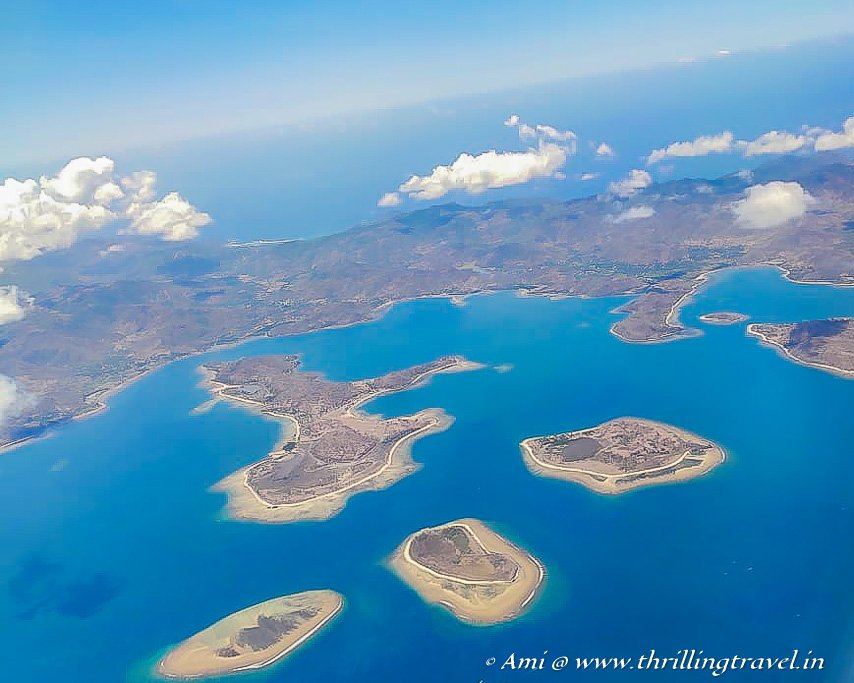 The three Gili Islands as seen on a flight to Lombok - Gili T is the largest while Gili Air is the smallest