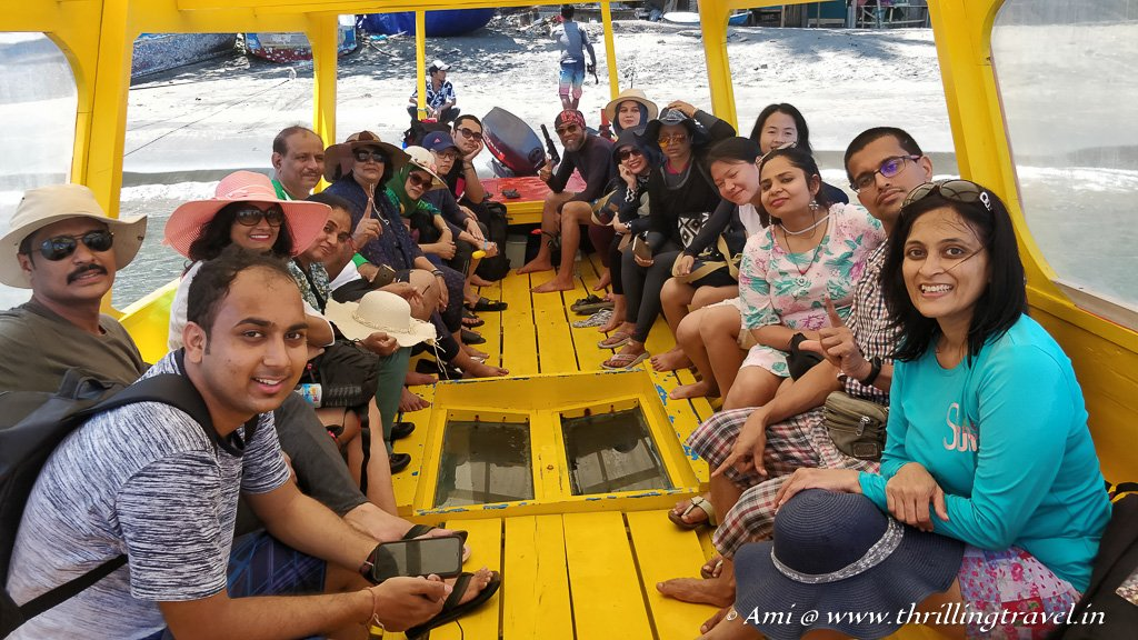 Our glass bottom boat ride for our day trip to Gili Islands from Lombok