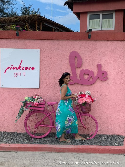 Posing by the pretty bicycle on Gili T island
