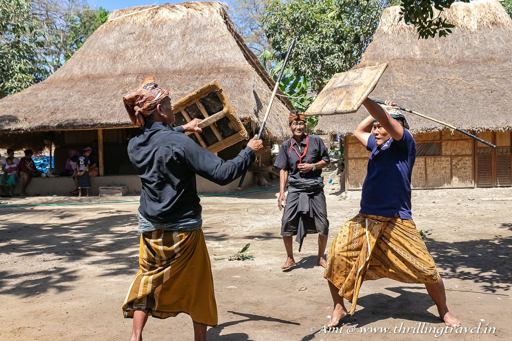 Peresean dance in the Sasak Village