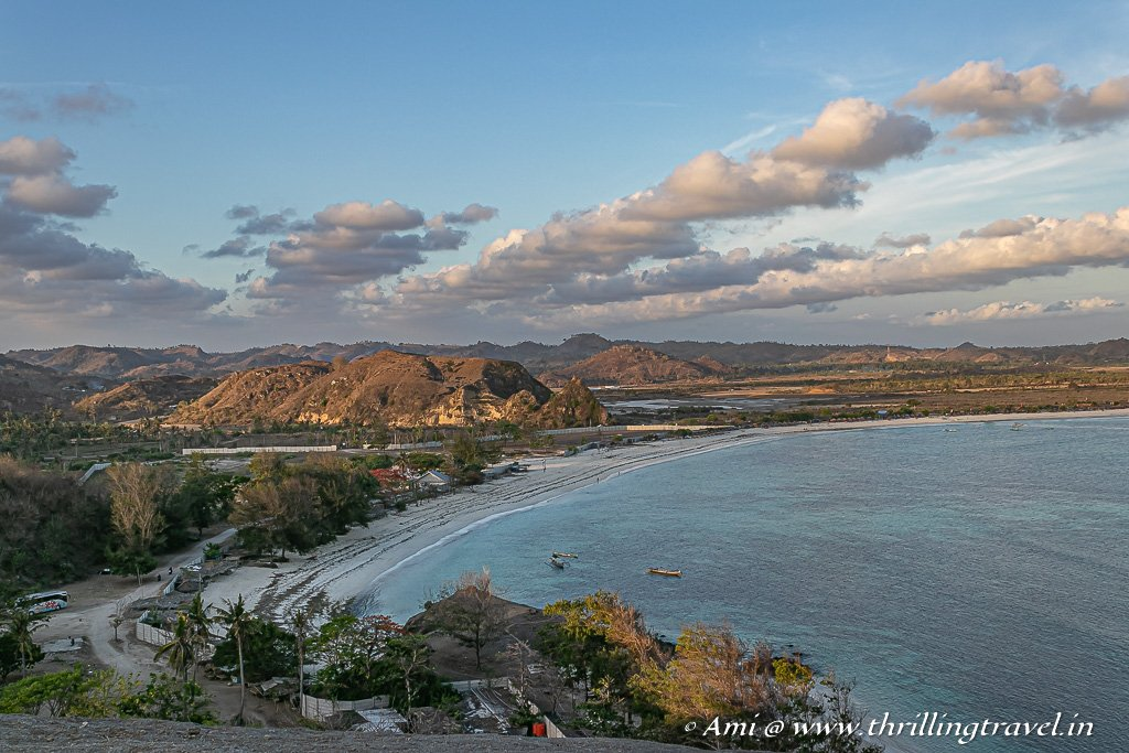 Tanjung Aan Beach as seen from Merese Hill