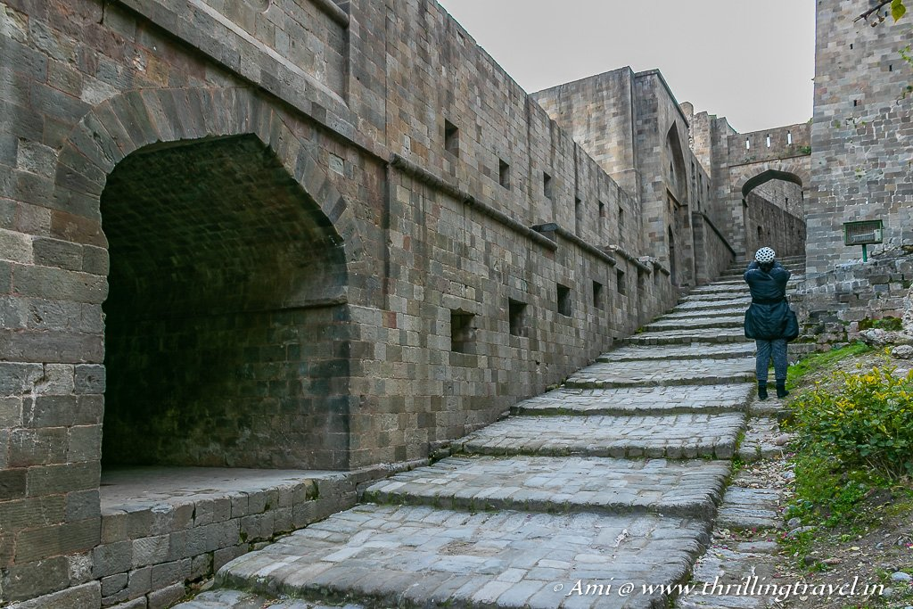 Along the walls of Kangra fort between the two gates