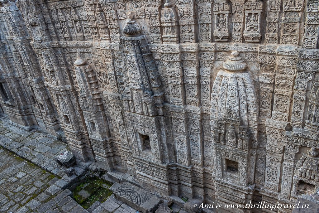 The carved remains of the back of the Laxmi Narayan temple