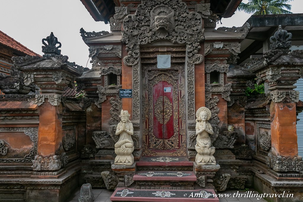 An elaborate Balinese Door - not that of the guide's home. but along the same Rice Field Walk