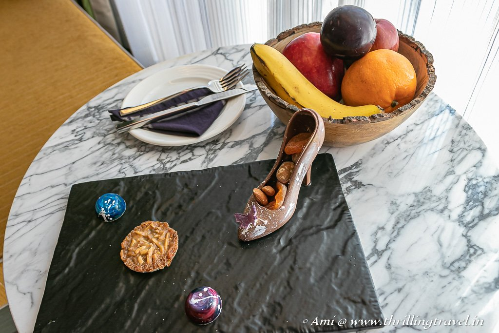 Chocolate treats in my room - yes, even the shoe is edible :)