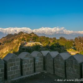 View of Dhauladhar peaks from the ramparts next to the Jahangiri Gate.