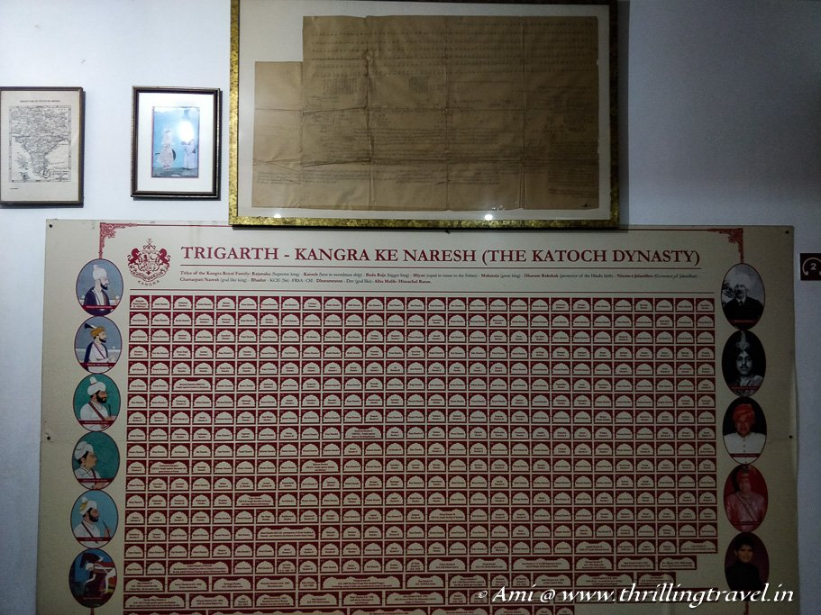 The Katoch family tree as displayed at the Maharaj Sansar Chand Museum