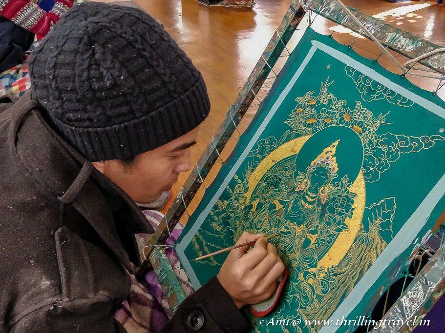Thangka artist at work