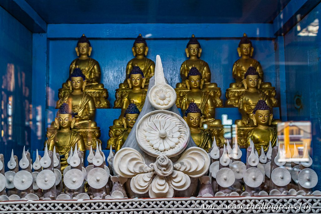 The lovely butter sculptures displayed at Gyuto Monastery