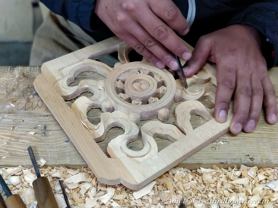 Wood carving at Norbulingka Institute