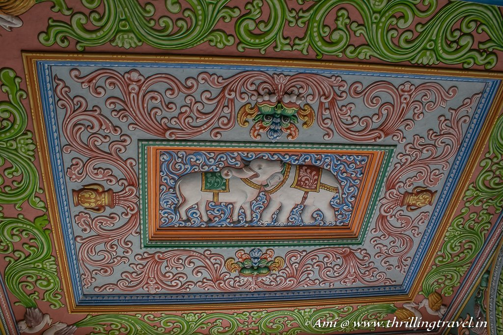 Close-up of the ceiling at the Saraswati Mahal Library