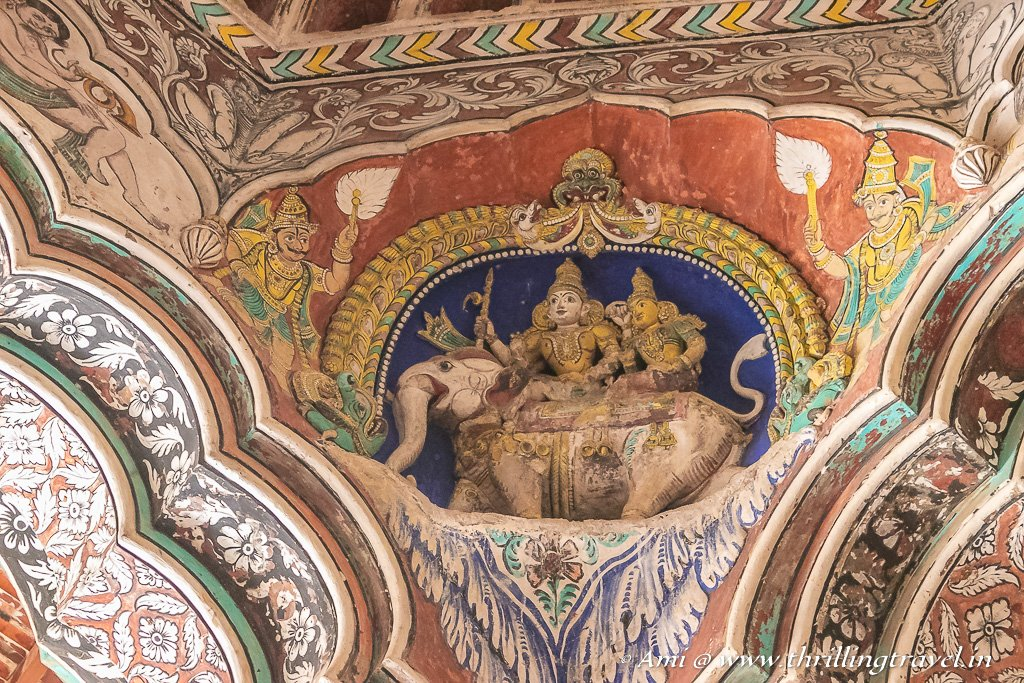 One of the corners of the ceiling showcasing Indra