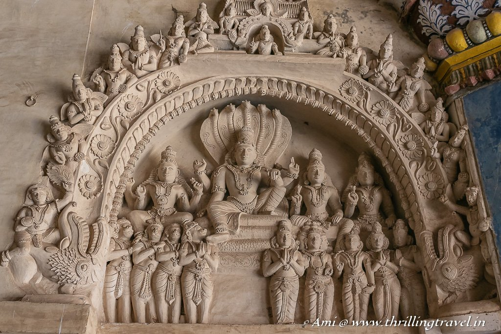 Carving of Vishnu and the deities in the Thanjavur Palace Durbar Hall