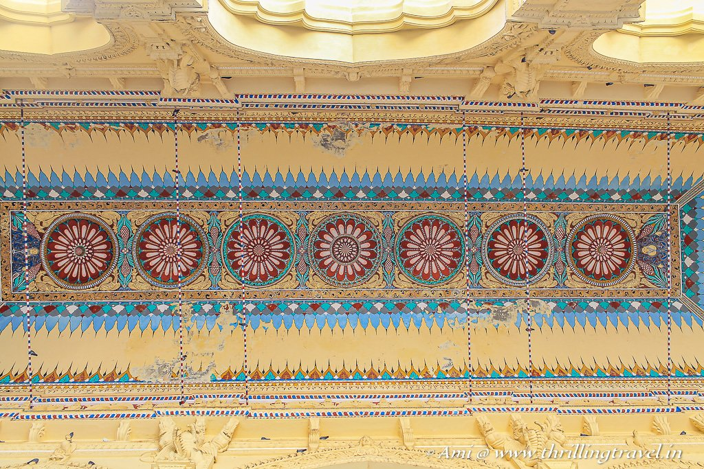 The Swarga Vilasam ceiling that reminded me of Gujarati Mirror Work