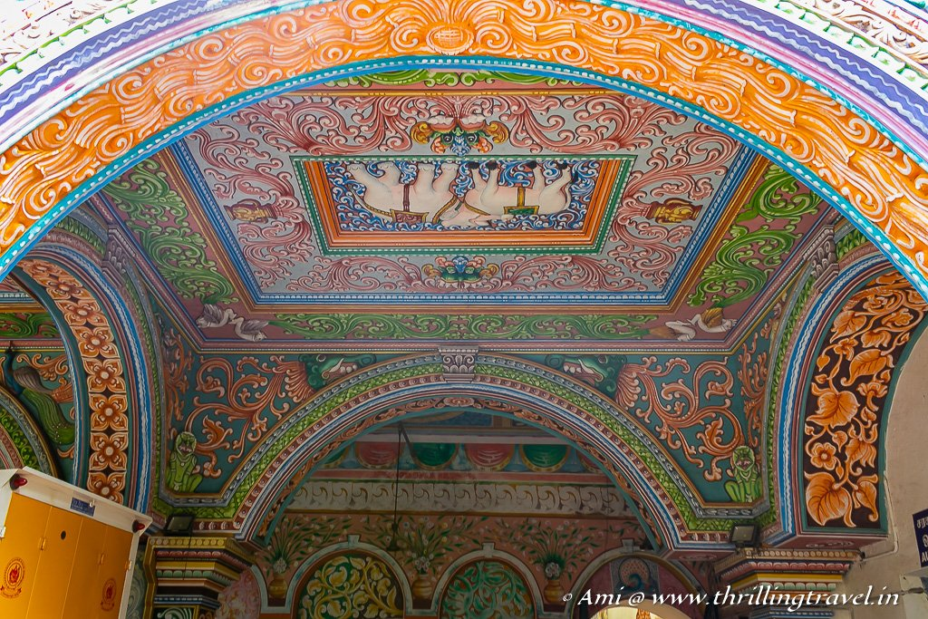 The colorful ceilings and walls of the Saraswathi Mahal Library