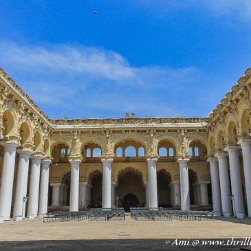 Dwarfed by the monumental Thirumalai Nayakar Palace in Madurai