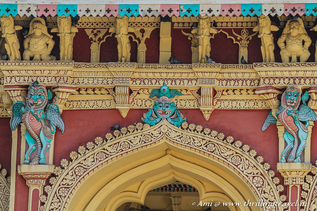 The stucco art around the arches of the Nayak Palace of Madurai