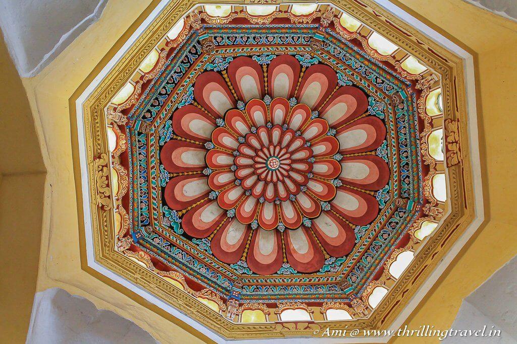 The octagonal floral ceiling of Thirumalai Nayakar Palace