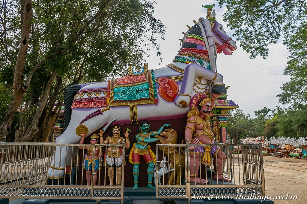 Lord Ayyanar, his horse and his helpers - as seen at the Chettinad Ayyanar Temple