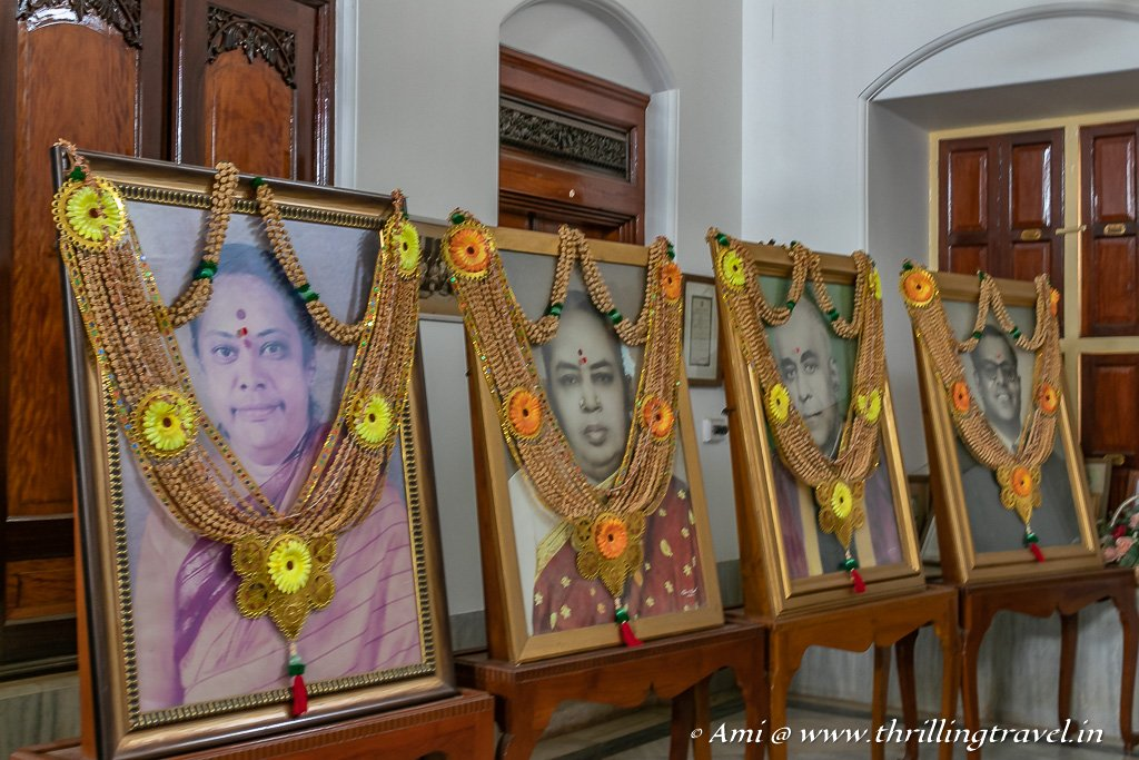 Family portraits displayed inside Kanadukathan Palace in Chettinad