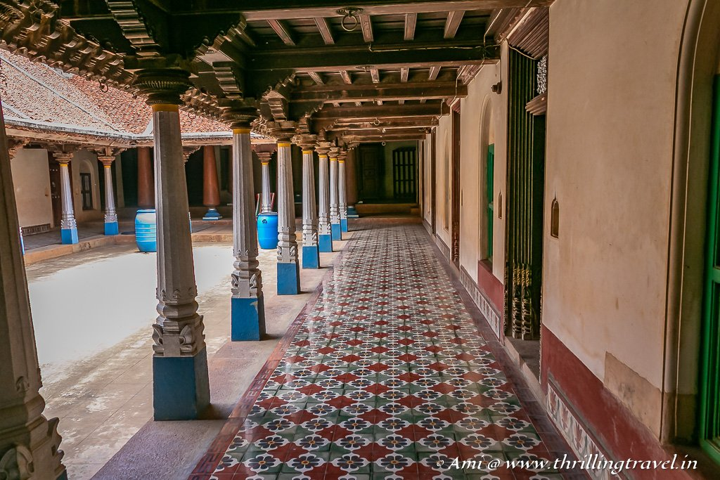 Athangudi tiles on the floors of the Nadai (corridor) of the VVR Mansion