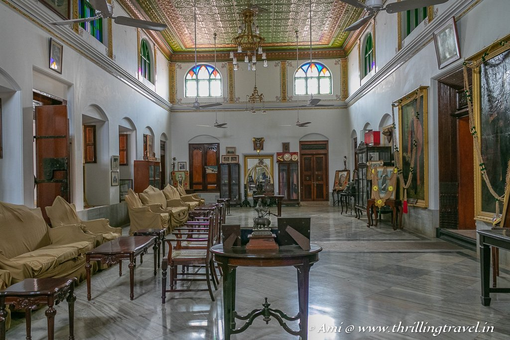 Mugappu or the reception hall of Kanadukathan Palace