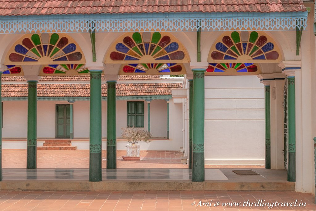 Stained glass corridors that lead to the 2nd section of the Kanadukathan Maharaja's Palace