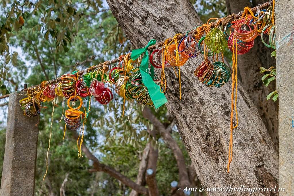Bangles on the trees in Ayyanar Temple