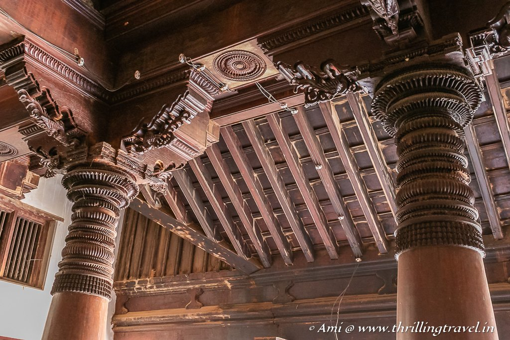 Pillar woodwork in a Chettinad house