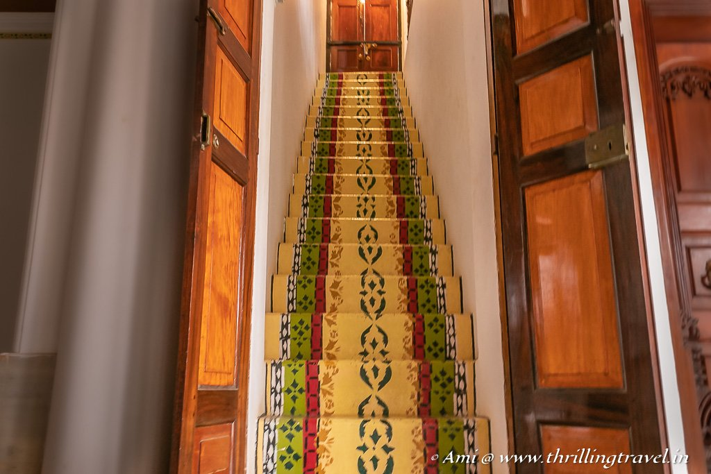 Colorful staircase leading to the first floor of the palace of Maharaja