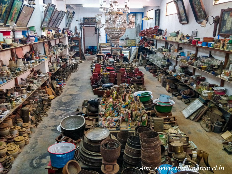 The wares of a Karaikudi home now available in the Karaikudi Antique Shops