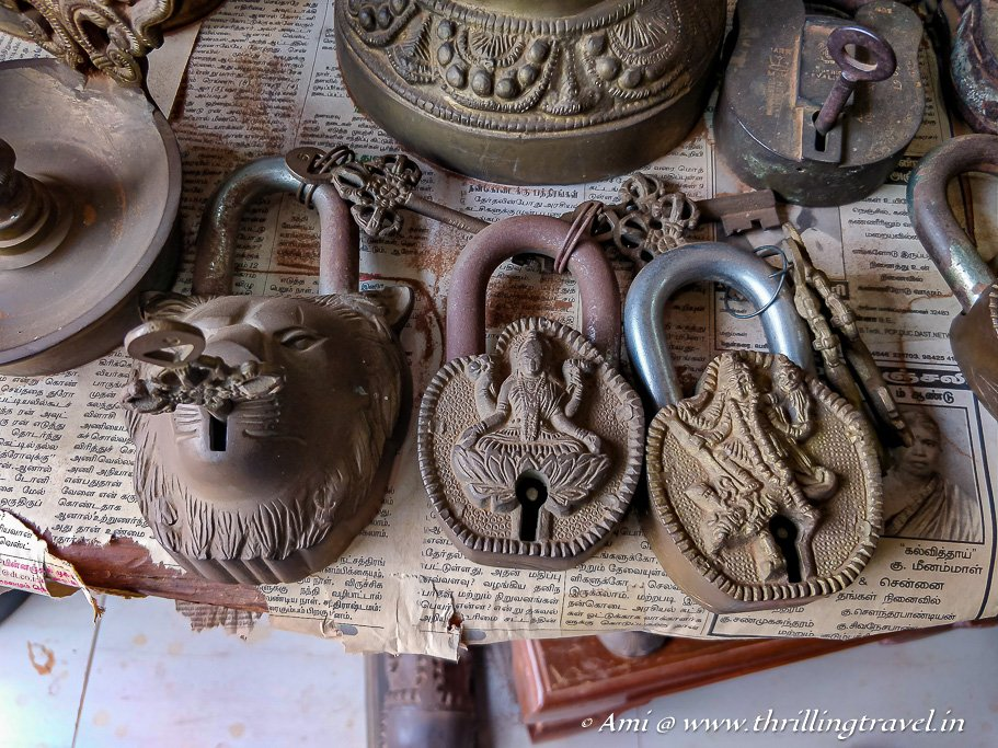 Old locks sold in the antique market of Karaikudi
