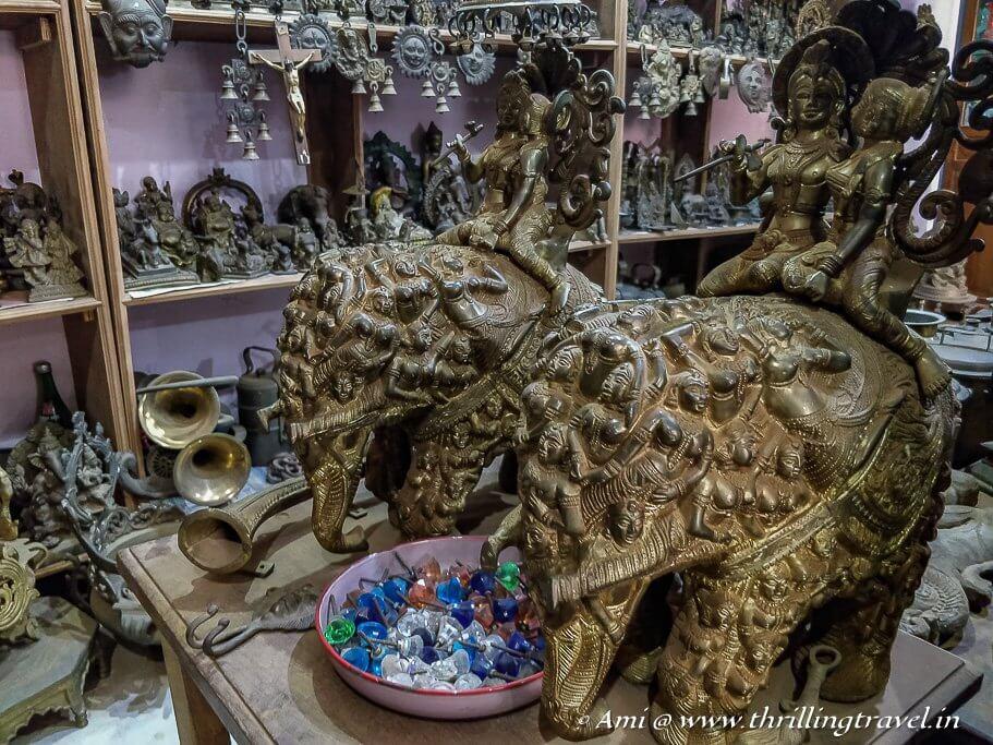 Carved bronze sculptures in the Karaikudi antique market