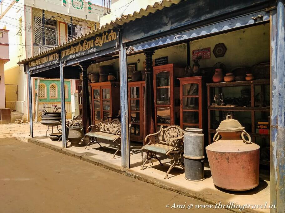 Karaikudi old furniture in the antique market of Chettinad