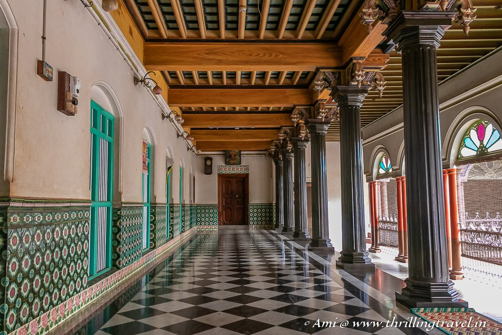 The Italian marble floor and Athangudi tiled ceiling in the verandah of Athangudi palace