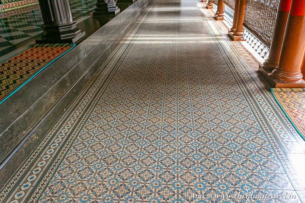 Athangudi tiles as the floor of the palace verandah