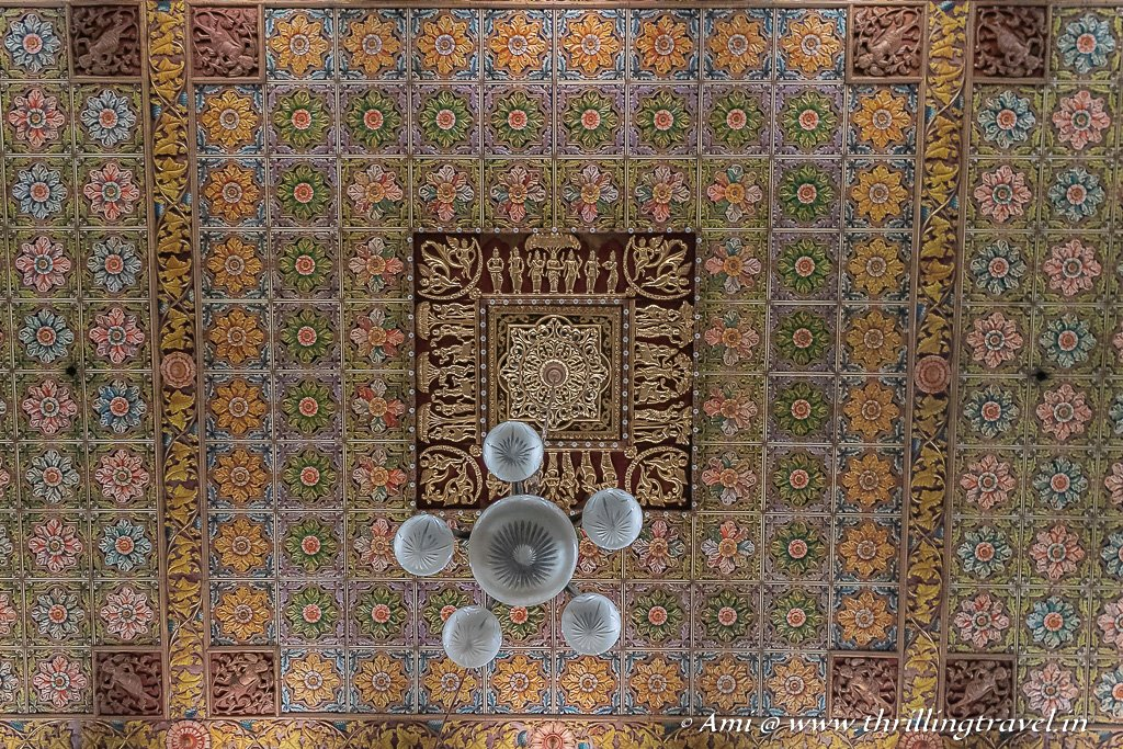 Japanese tiles with Athangudi ones and a chandelier in the Athangudi palace hall